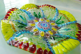 decorative tableware handmade livemaster handmade Сoloured fused glass plate indian pattern