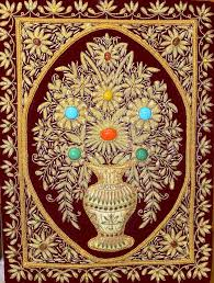lightahead handmade zardozi jewel stone kashmir gold thread jeweled wall carpet rug hanging rectangular exquisite flower vase gift design 503