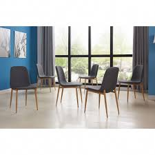 ids home 6pcs dining chair set metal grey leg with wooden skin 7