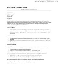 health services coordinator resume glamorous health care