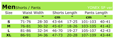 short size sportswear size charts of yonex gosen victor vision quest