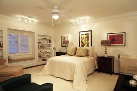 fan lamp decor and track bedroom creamy interior decoration ideas with ceiling
