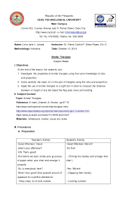 Lesson Plan Format Mesmerizing Detailed Lesson Plan Of Similar Triangles In Inductive Method