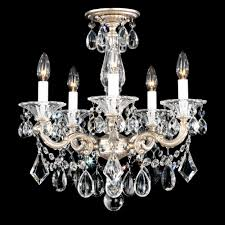 la scala 5 light 110v chandelier in roman silver with clear heritage crystal