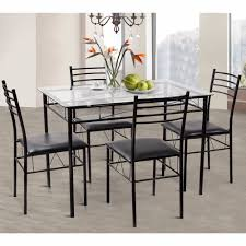 Giantex 5pc Dining Set Modern Dining Room Tempered Glass Top Table
