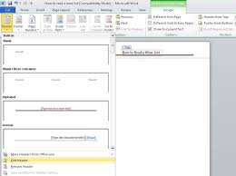 Ms Word Header How To Add A Header Or Footer To A Word 2010 Document Dummies