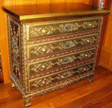 lotus and vines golden antique chest drawer