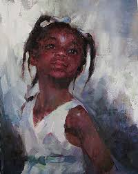the look michael maczuga oil on panel contemporary impressionist artist cute young female child african american black girl painting proud