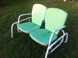 retro metal lawn chairs and table