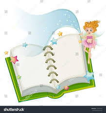 ilration of an open book with stars and a fairy on a white background