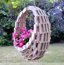 garden art projects. Hanging Wooden Basket Garden Art Projects A