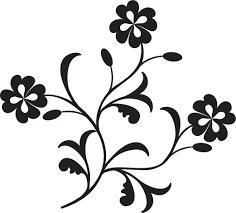 ポップでかわいい花のイラストフリー素材no1324白黒枝葉四つ葉
