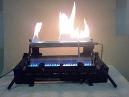 ventless gas log fireplace burner without logs to show the support designs