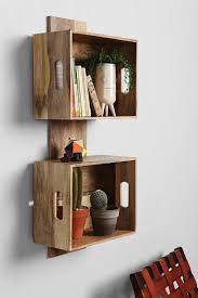 ... Wooden Crate Wall Shelves Square Brown Stayed Drawer Classic Design  Floating Furniture Thin Strong Wooden Material