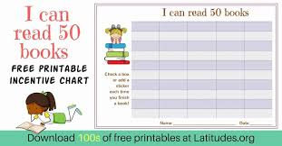 Book Reading Chart Free Reading Incentive Chart Read 50 Books Cute Girls