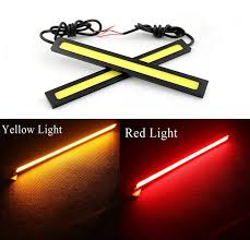 easy to install 2 17cm cob leds universal ultra thin dc12v led strip car daytime running light 9w drl warning fog auto lamp yellow red