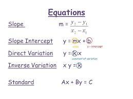 3 equations slope m slope intercept y