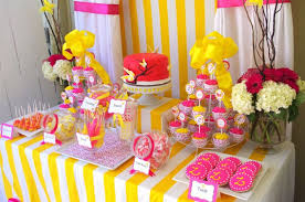 pink accented wedding cake table decorations with cupcakes and candies