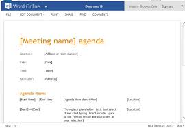 agenda template word business meeting agenda template for word online