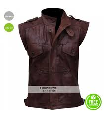 men s chocolate brown distressed biker leather vest 170 00