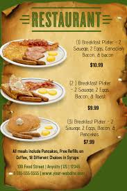breakfast menu template restuarant breakfast menu template postermywall