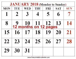free printable 12 month calendar free printable calendar 2018 for free download 12 month 2018