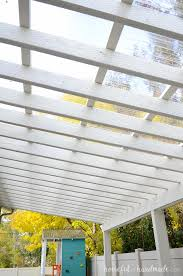 this patio is perfect for creating an outdoor dining area the clear pergola roof is