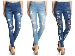 Womens Stretch Pull On Skinny Ripped Distressed Denim Jeggings Regular Plus Size