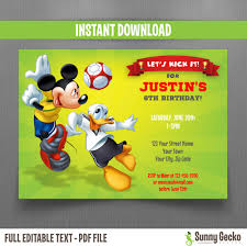 Soccer Party Invite Mickey Mouse And Donald Soccer Party 7x5 In Birthday Invitation