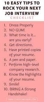Checklist 10 Easy Tips To Rock Your Next Job Interview Classy