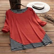 Fake Two Pieces Stripe <b>Patchwork Bandage</b> Casual Blouses in ...