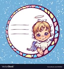 frame with cute angel vector image