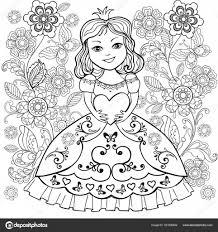 Kleurboek Met Kleine Princesa Hart In Zijn Handen Het Meisje Met De