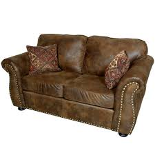 elk river brown transitional leather look with nailhead loveseat 01 41c 02 975 the home depot