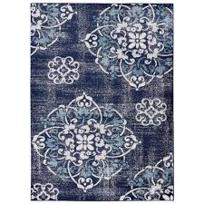 modest navy rug 5x7 jasmin collection contemporary medallion design and ivory 5 ft