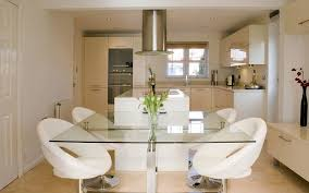 small glass dining table. Beautiful Kitchen Design With White Tempered Square Glass Dining Table For Small Space