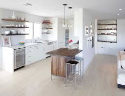 kitchen floating shelves and built in storage