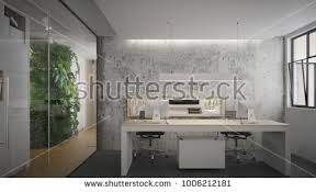 industrial style office. Interior Of An Office In Industrial Style - 3 D Render O