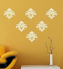 multicolour vinyl white motif wall