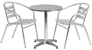 aluminum outdoor bistro set with 3 pieces