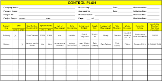 Six Sigma Control Chart Excel Template Control Plan