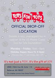 not sure the best time to drop by with your donation we ll be doing special toys for tots holiday happy hours each friday in december from 4 6pm