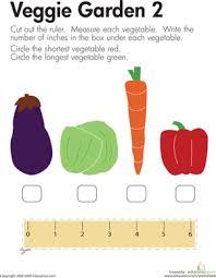 Measuring Length: More Veggies | Worksheet | Education.comKindergarten Measurement Worksheets: Measuring Length: More Veggies