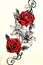 rose vine tattoo designs. Simple Rose Lily And Rose Tattoo Design By Lucky978 Intended Vine Designs 3