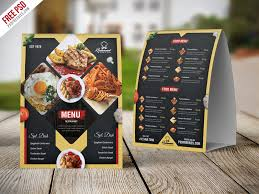 Free Psd Restaurant Menu Table Tent Card Psd Template By