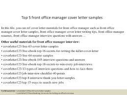 Sample Cover Letter For Front Office Manager Adriangatton Com