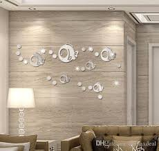 trendy design crystal wall decor acrylic bubble fish mirror stickers diy art home living room decorative sticker decal