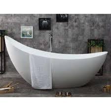 stone resin flatbottom bathtub in matte white