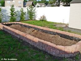 diy raised garden bed after three levels of pavers are in place