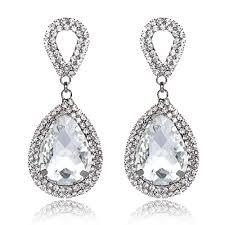 yuxi silver clear crystal drop earrings dangle wedding teardrop rhinestone chandelier earring for women jewelry statement
